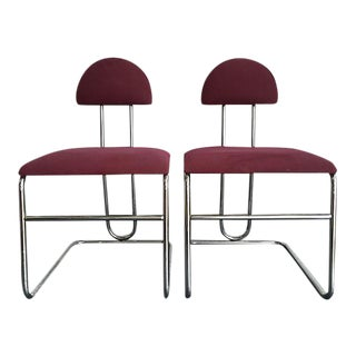 Bordeaux Chrome Chairs - A Pair