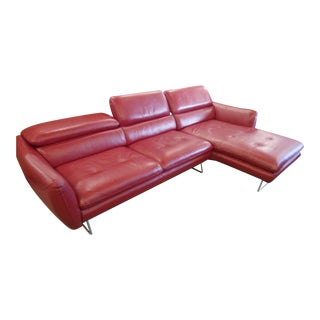 Plummers Red Leather Sectional