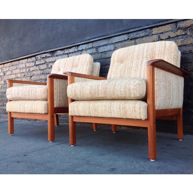 Image of Mid-Century Danish Teak Danish Chairs - A Pair