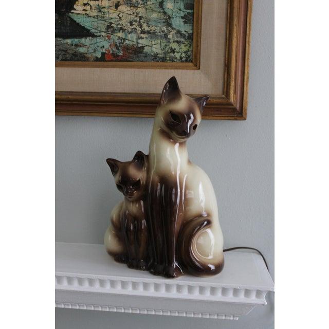 Vintage Ceramic Siamese Lamp - Image 3 of 8