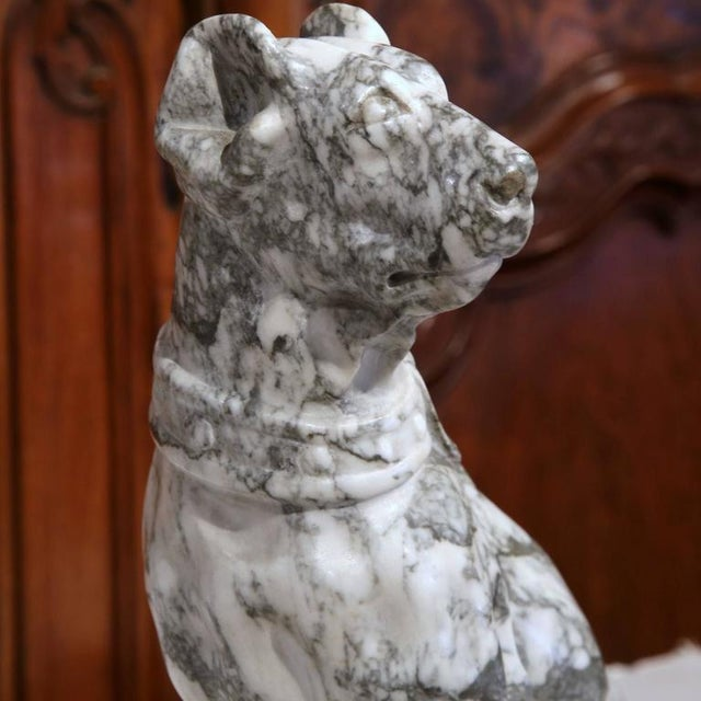 19th Century French Gray & White Marble Dog Figure - Image 4 of 10