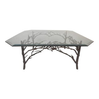 Alberto Giacometti Style Contemporary Modern Bronze & Glass Coffee Table