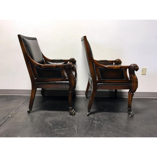 Theodore Alexander Leather Lion Head Chairs - A Pair - Image 5 of 11
