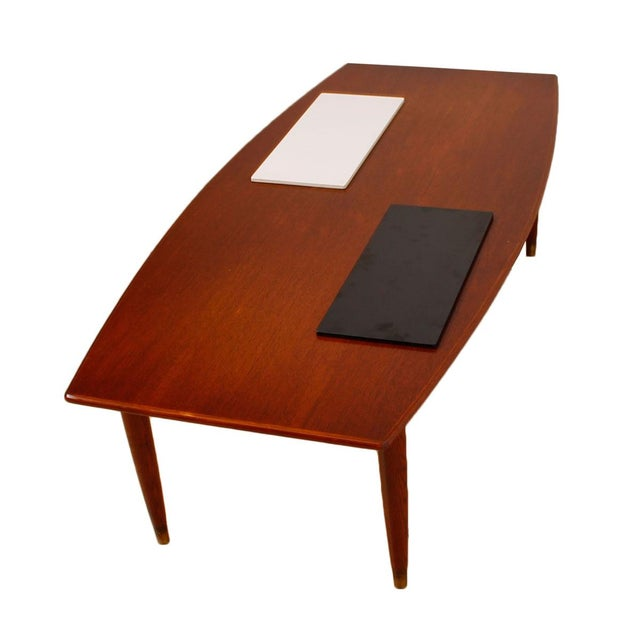 Swedish Teak Curved Coffee Table with Storage - Image 6 of 7