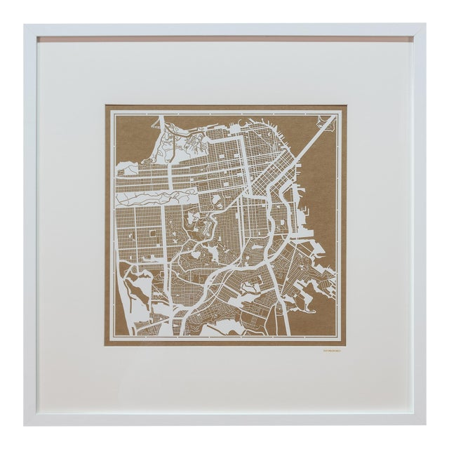Sarreid LTD San Francisco Framed Map - Image 1 of 4