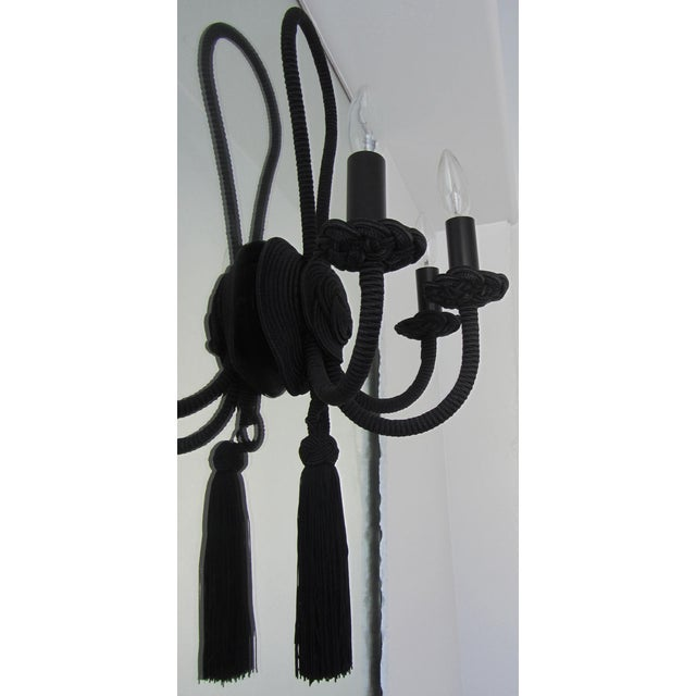 Image of Light-Black Brocaded Rope Sconce