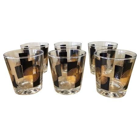 Image of Gold & Black Atomic Sunburst Glasses- Set of 6