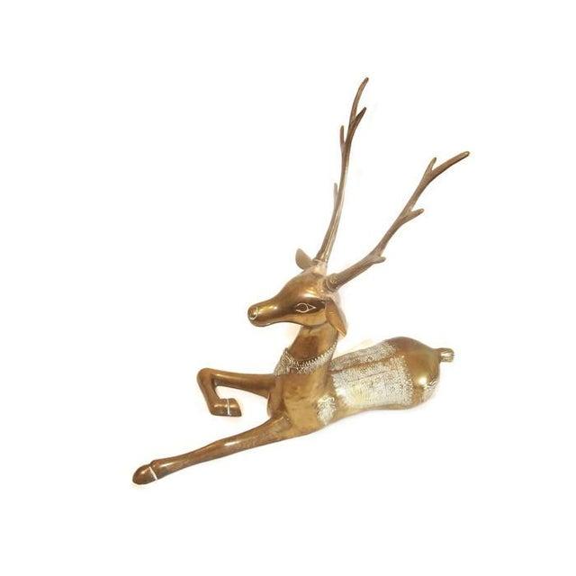 Hollywood Regency Brass Reindeer Statue - Image 8 of 9