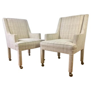 Vintage Upholstered High Back Side Chairs With Castors - Pair
