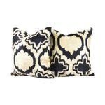 Image of Black & Ivory Arabesque Silk Ikat Pillow - APair