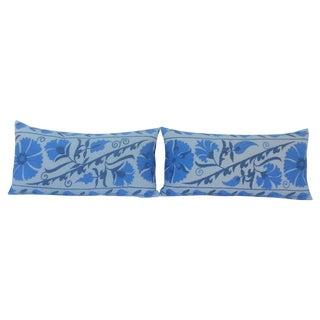 Blue & White Uzbekistan Suzani Pillows - A Pair