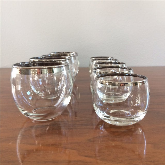 Mid Century Silver Rim Glasses - Set of 9 - Image 4 of 9