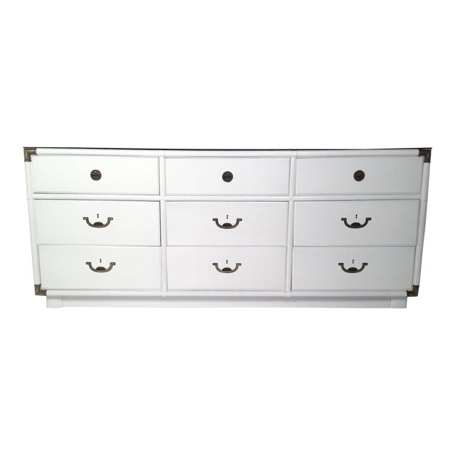 Drexel Lacquered White with Emerald Lucite-Top Campaign Dresser - Image 1 of 9
