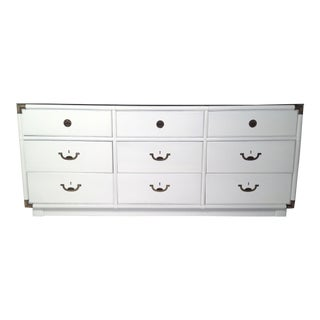 Drexel Lacquered White with Emerald Lucite-Top Campaign Dresser
