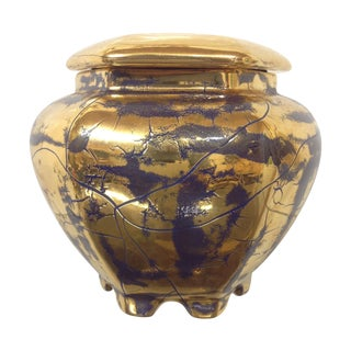 Hollywood Regency Royal Blue Gilt Ceramic Jar