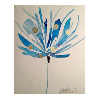 Gold & Blue Abstract Dragonfly Painting