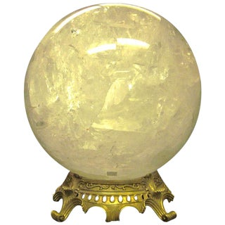 A French Rock Crystal Sphere with Bronze Base