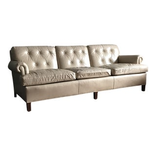 Beige Leather Sofa by Hancock & Moore