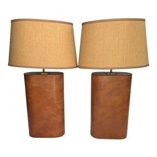 Jacques Adnet Style Hand-Stitched Leather Lamps - a Pair