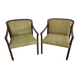 Mid-Century Green Office Chairs - A Pair