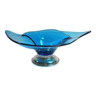 Vintage Peacock Blue Glass Leaf Dish W Sterling Base