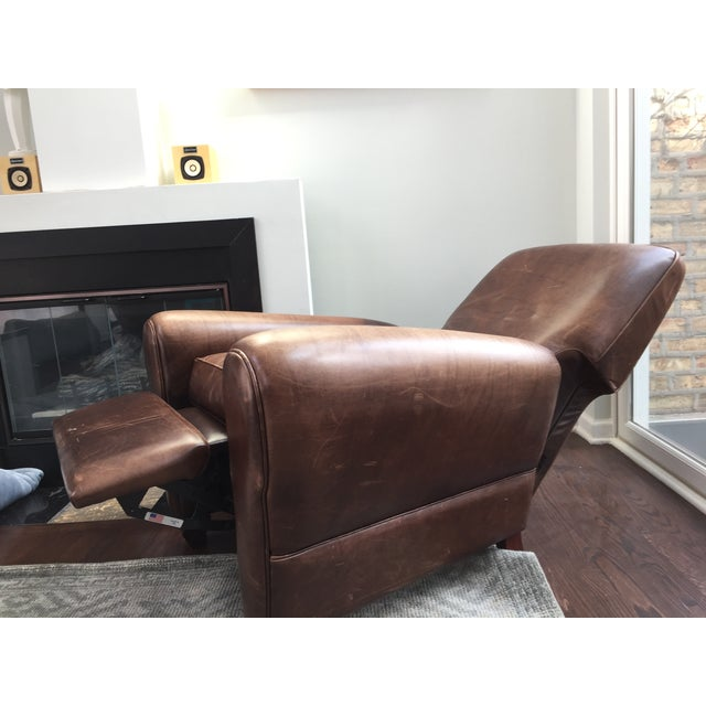 Room and Board Dark Brown Leather Recliner - Image 3 of 6