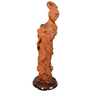 Fine Chinese Antique Hand-Carved Wood Sculpture of Woman