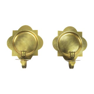 Hollywood Regency Brass Candle Sconces - A Pair