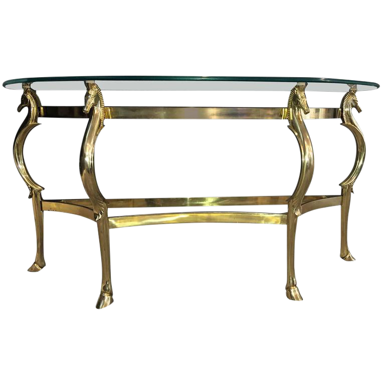 Glamorous Italian Polished Brass Seahorse Console Table   Image 1 Of 6