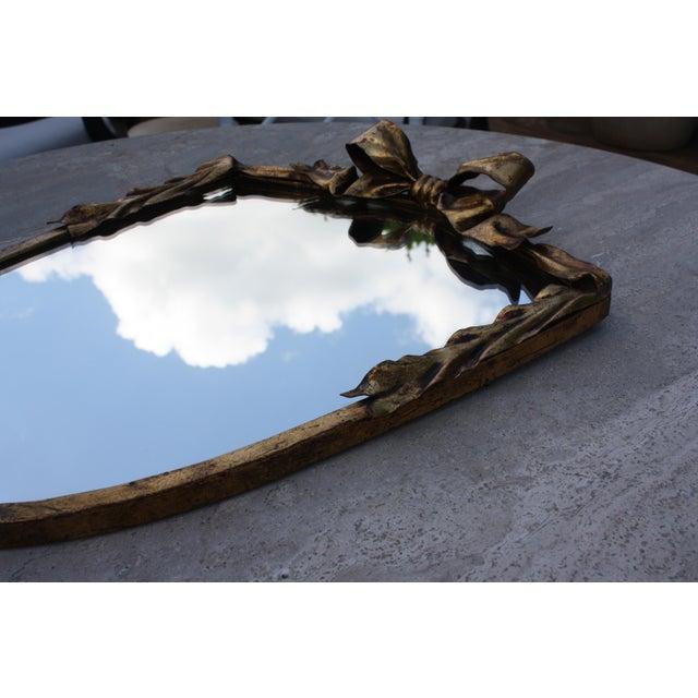 Dorothy Draper Style Gilt Bow & Shield Mirror - Image 6 of 6