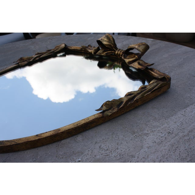 Image of Dorothy Draper Style Gilt Bow & Shield Mirror