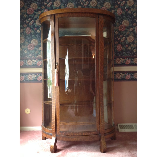 Antique Tiger Oak Curved-Glass China Cabinet - Image 2 of 9