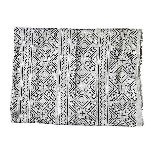 Lg Black & White Mali Mud Cloth Textile - Image 4 of 7