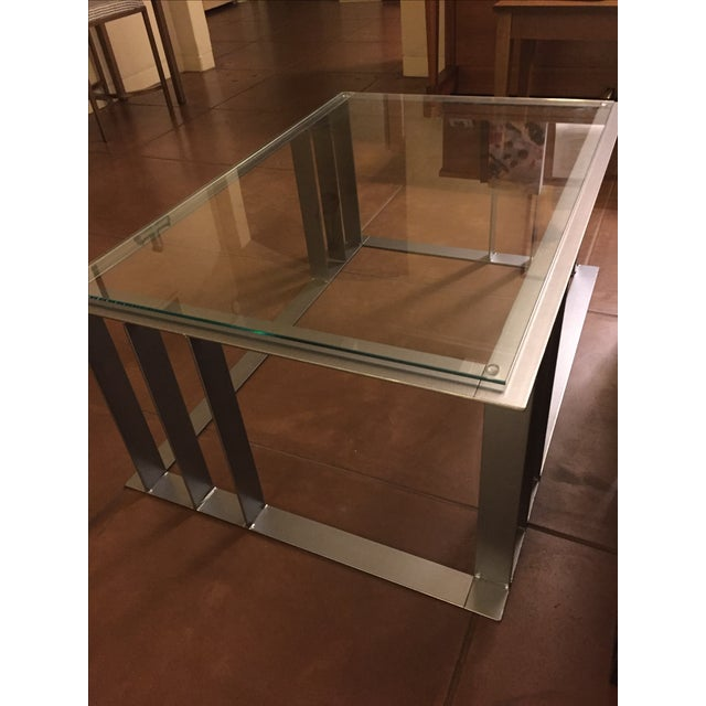 Offset Corner Steel & Glass Coffee Table - Image 4 of 4