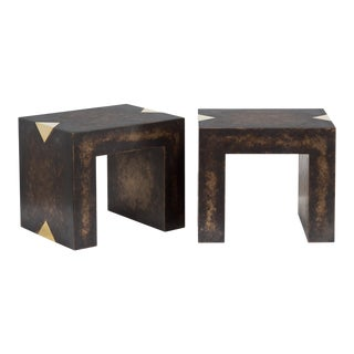 The Rectangular Bronze Collection Brass Side Tables by Talisman Bespoke