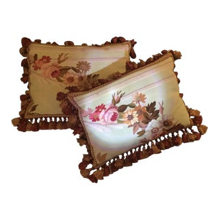 Aubusson Floral Decorative Pillows - A Pair