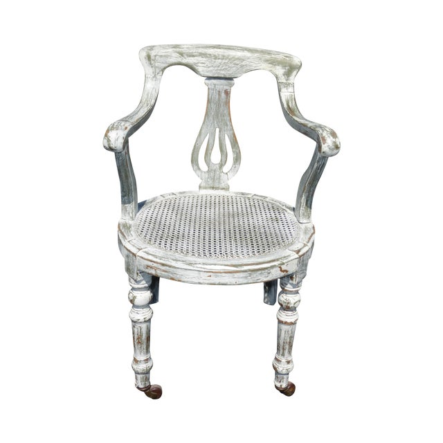 French White Cane Accent Arm Chair on Castors - Image 1 of 11