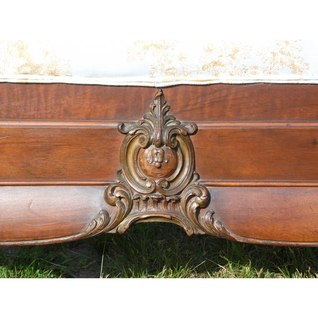 Antique French Louis XV Carved Solid Wood Toile Upholstered Full Double Bed - Image 7 of 11
