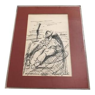 "Framed ""Fishermans Repose"" Original Ink Drawing"