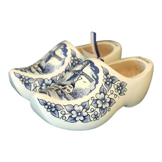 Wooden Delft Blue Clogs - A Pair