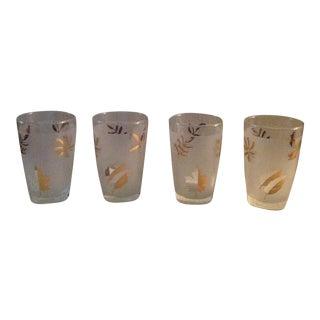 Vintage Frosted Leaf Glasses - Set of 4