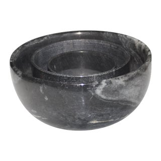 Black Marble Bowls - Set of 3