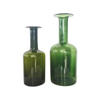 Kastrup Holmegaard Green Glass Bottle Vases- A Pair