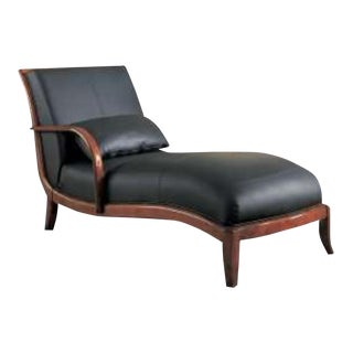 Real Leather Chaise Lounge in Black