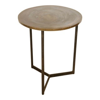 Pair of Custom Iron and Brass Side Tables