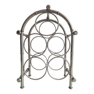 Vintage Nickel Faux-Bamboo Wine Rack