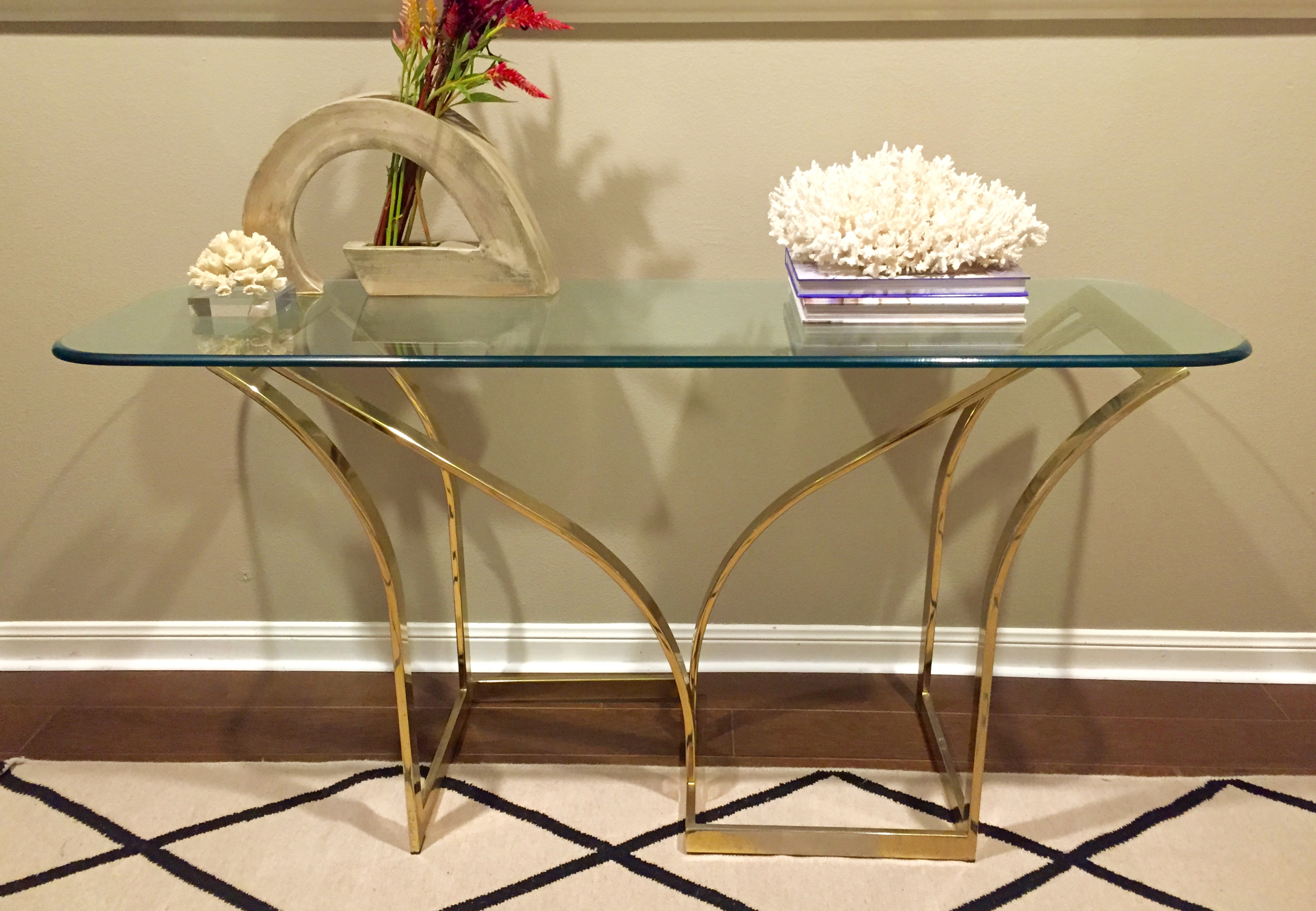 Mitchell Gold Console Table Vintage 1970s Brass & Glass Console Table | Chairish