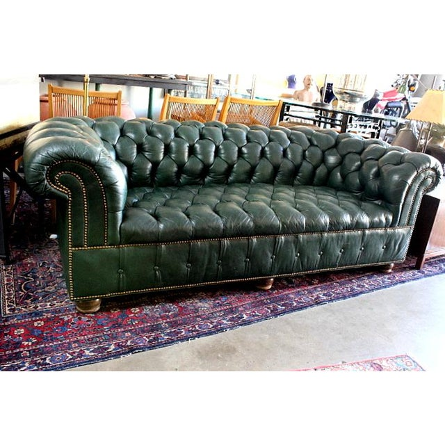 Leather Sofas For Sale In Northern Ireland: Green Tufted Leather Chesterfield Sofa