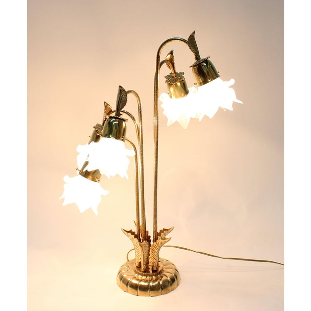 Image of Vintage Brass Lamp With Rose Petal Shades