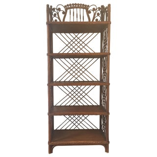 Antique Victorian Wicker Etagere
